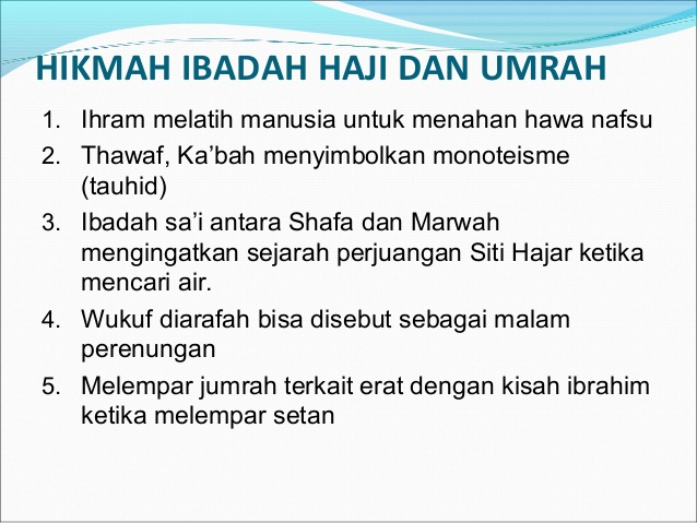 Hikmah haji sesuai sunnah