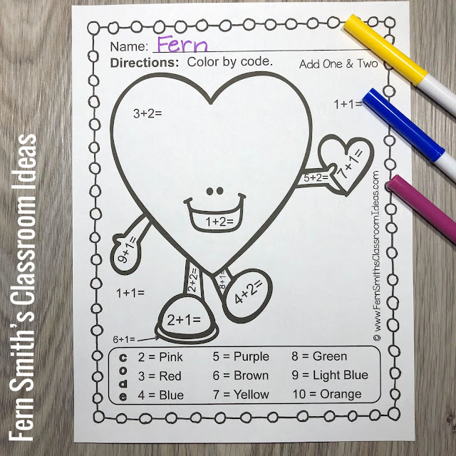 You will love the no prep, print and go ease of these 10 St. Valentine's Day Color By Number Addition and Subtraction printables. My FUNKY SERIES, the students can't predict the answers and they love the colorful finished product they get to take home!