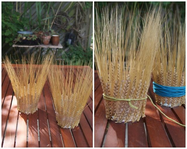 DIY Teelichtglas mit Getreideähren bekleben und Wolle umwickeln