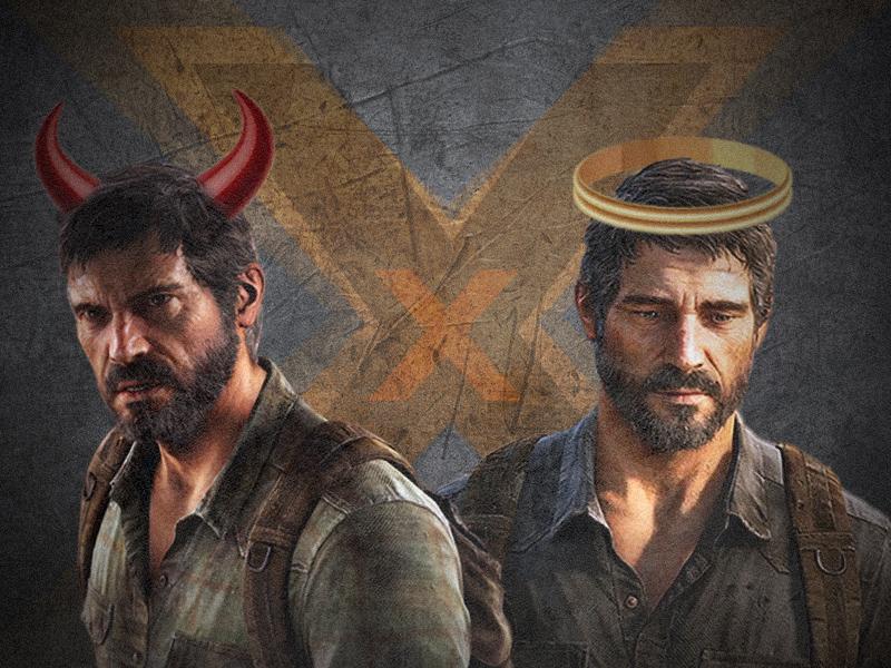 """Colagem com imagens do personagem Joel do jogo """"The Last Of Us"""" na qual confronta ele sendo bom ou mal, um com chifres de demônio e o outro com uma auréola de anjo."""