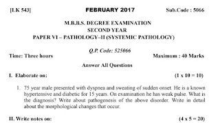 KNRUHS Pathology Question Papers 2017, 2018, 2019 and 2020 Download PDF
