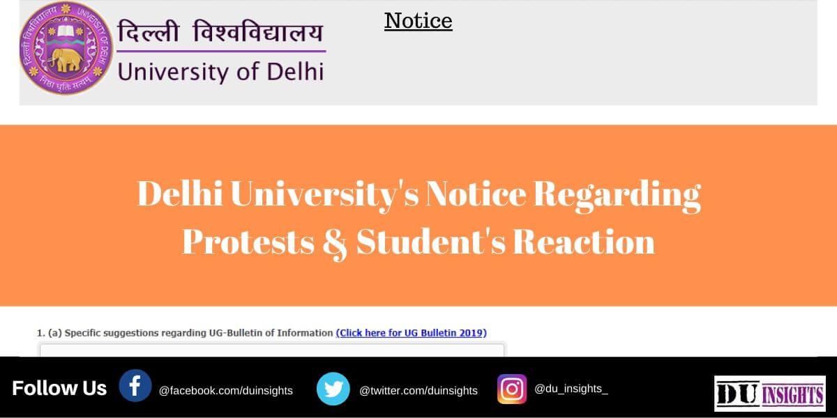 Delhi University's Notice Regarding Protests & Student's Reaction