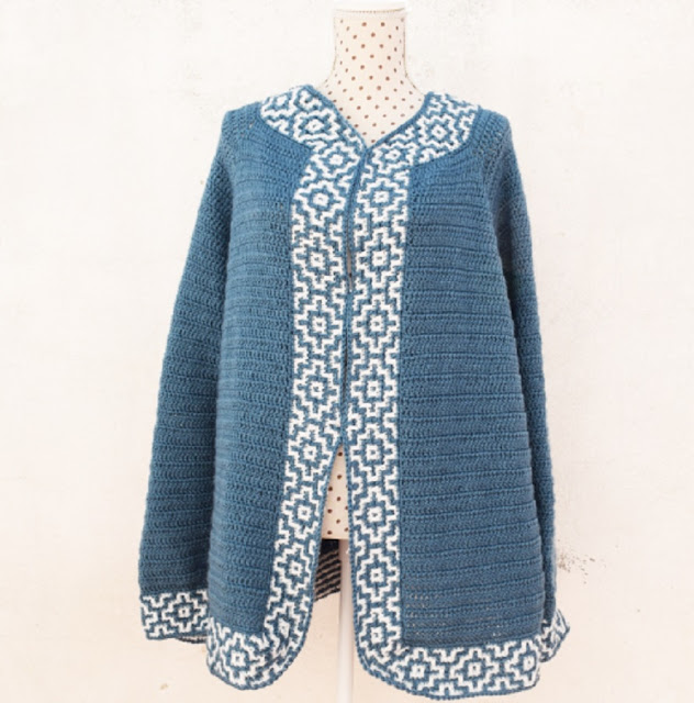 1 - Crochet Imagen Chaqueta azul a crochet y ganchillo por Majovel Crochet