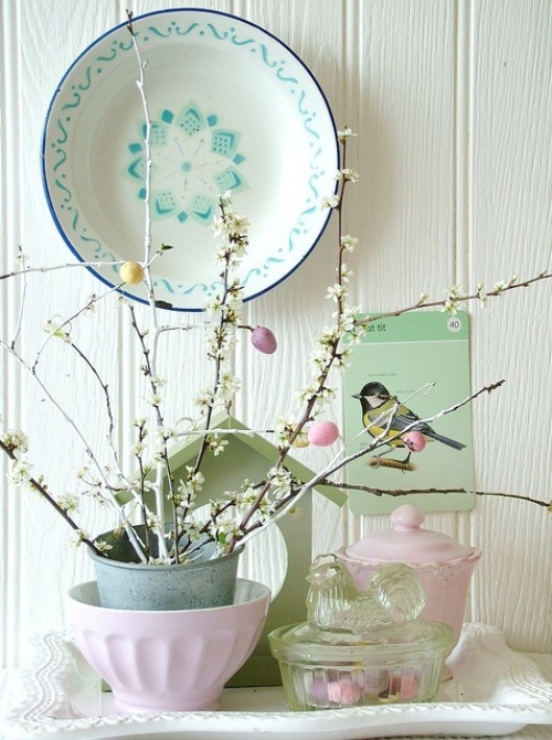 pastel Easter and spring decoration with Easter tree