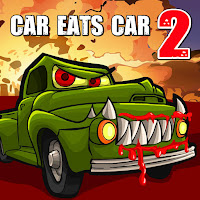 Drive your car in Car Eats Car 2 and use turbo and bombs to escape the cannibal car chasers! The goal is to reach the exit safely! Don't forget to upgrade your car with all kinds of weapons and special powers that makes you stronger than the enemy!