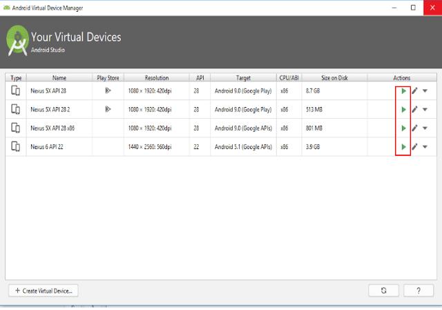 Jika emulator android sudah anda buat maka Android Virtual Device Manager akan menampilkan nama device yang sudah anda pilih.