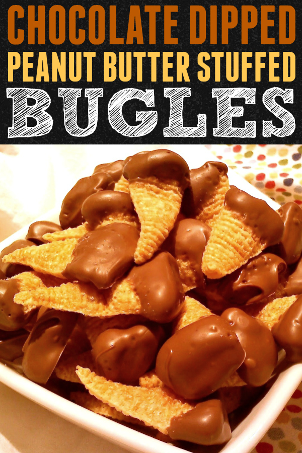 A super fun and easy treat with Bugles snack crisps stuffed with peanut butter then dripped in melted chocolate.