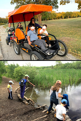 Pedal Cart ride and exploring the creek at park near Winnipeg