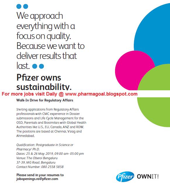 Pfizer - Walk-In interview for Regulatory Affairs on 25 & 26