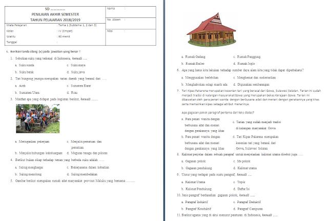 Soal PAS Kelas 4 SD/MI: Tema 1