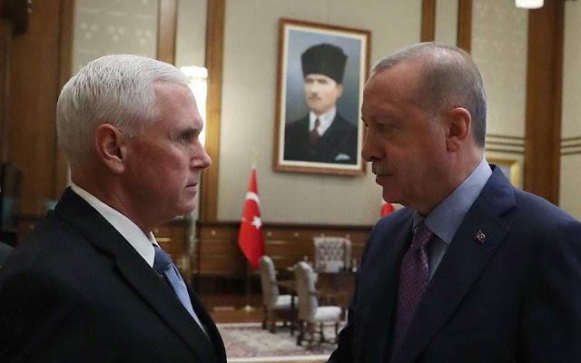 Βλοσυρά βλέμματα στη συνάντηση Πενς - Ερντογάν