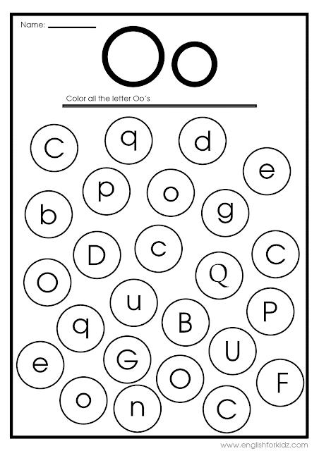 Find letter O worksheet -- printable ESL materials to teach English alphabet