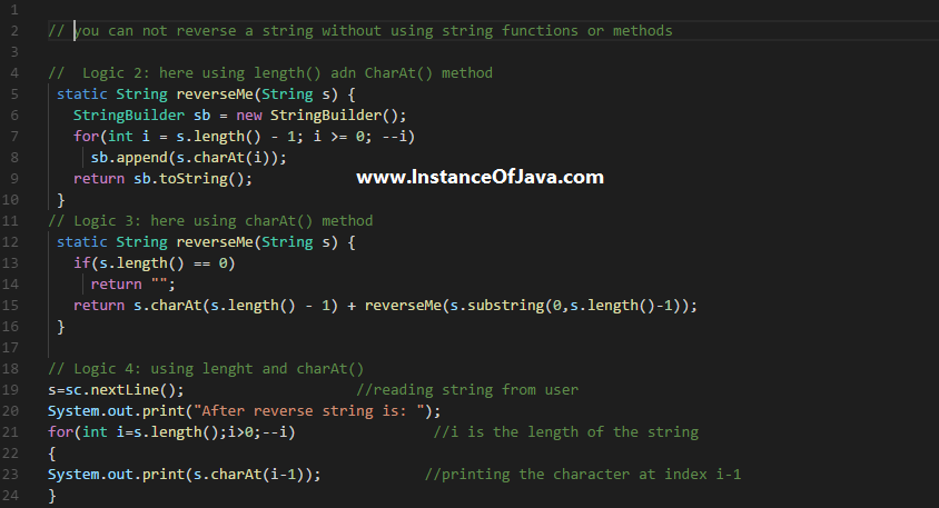 reverse string without using string function