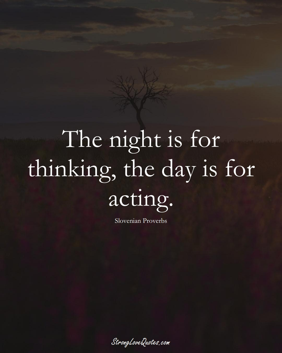 The night is for thinking, the day is for acting. (Slovenian Sayings);  #EuropeanSayings