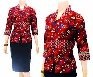 Model blus untuk wanita gemuk motif batik