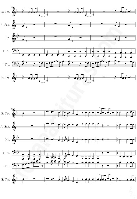 3 YMCASheet Music for trumpet, alto saxophone, horn, tube, trombone by Village Music Scores.JPG