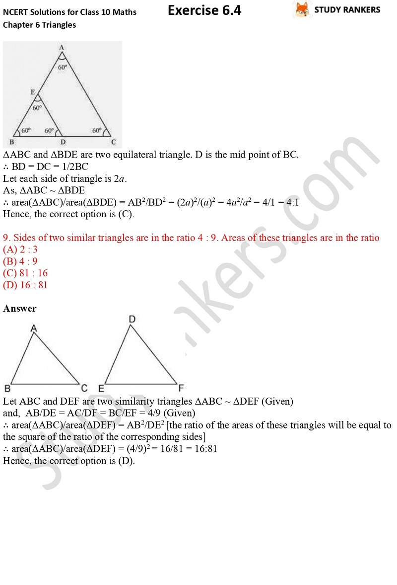 NCERT Solutions for Class 10 Maths Chapter 6 Triangles Exercise 6.4 Part 6