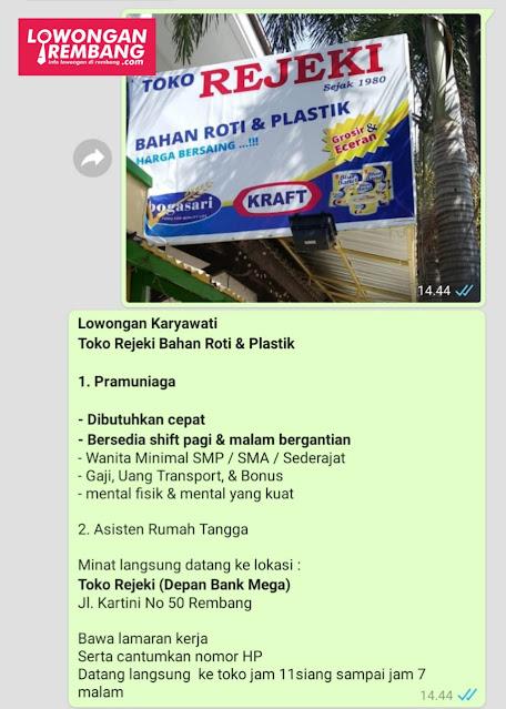 Lowongan Kerja Pramuniaga Dan Asisten Rumah Tangga Toko Rejeki Bahan Roti Dan Plastik Rembang