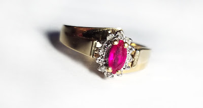 10k Yellow Gold Ring with Marquise Ruby Size 7