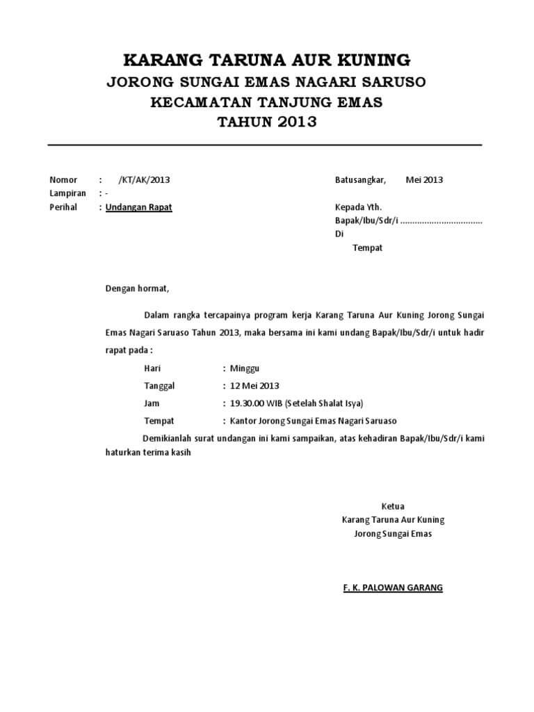 Contoh surat undangan rapat organisasi contohsuratmu contoh undangan rapat karang taruna stopboris Gallery