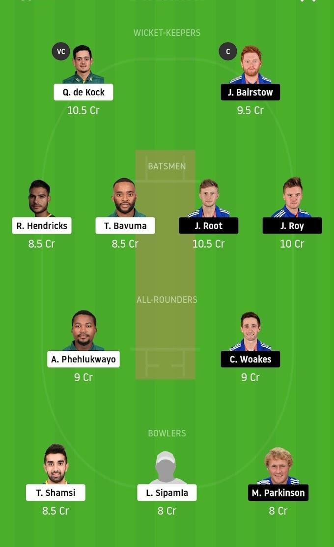 SA vs ENG Dream 11 Team Prediction (3rd ODI)   SL And GL Team