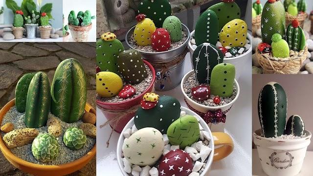 DIY Διακοσμητικά κακτάκια από βότσαλα - πέτρες