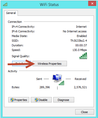internet status in windows 8 or windows 8.1