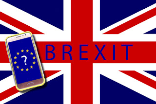 Brexit flag and mobile device