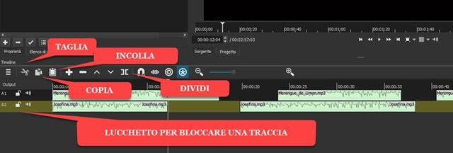 taglia incolla copia dividi clip audio shotcut