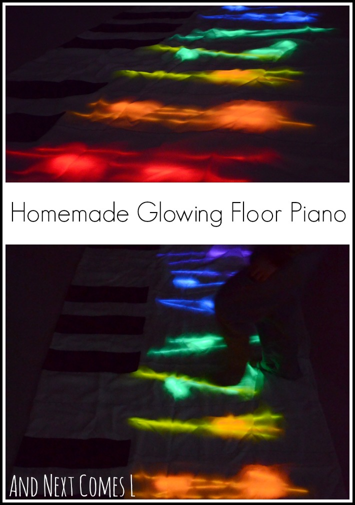 Create a homemade glowing floor piano for exploring music and colors and encouraging gross motor play from And Next Comes L