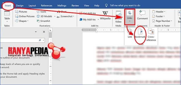 Cara menampilkan fitur bookmark di word