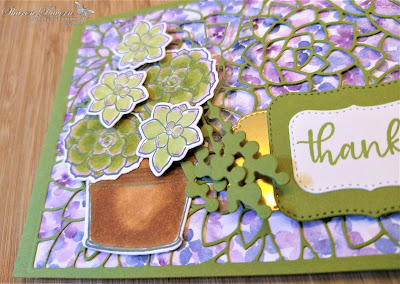 Rhapsody in craft, Old Olive, Simply Succulents, Potted Succulents Dies, Ornate Layers Dies, Subtle 3D Embossing Folder, Hydrangea Hill DSP, Thank you Card, Thinking of you Card, Stampin' Blends, Blender Pen, Jan-Jun Mini 2021, #loveitchopit, #colourcreationsshowcase, Stampin' Up