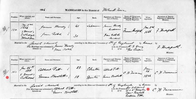Marriage of Albert Pitt and Emma Bartlett January 1866