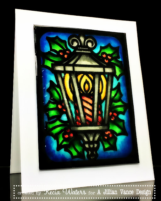 AJVD, Kecia Waters, Copic markers, Christmas, UTEE, stain glass