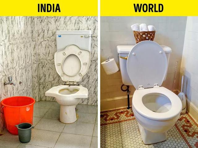 Nhà vệ sinh ở Ấn Độ thường không có giấy vệ sinh. Người Ấn Độ thích rửa bằng nước sau khi đi vệ sinh. Chính vì vậy, thay vì dùng giấy vệ sinh, họ sẽ để một cái xô hoặc một chiếc cốc nhỏ trong toilet.