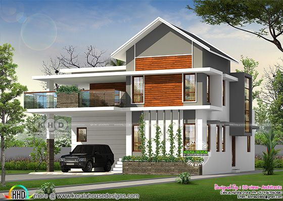 2240 square feet 4 bedroom Sloping roof mix Kerala home
