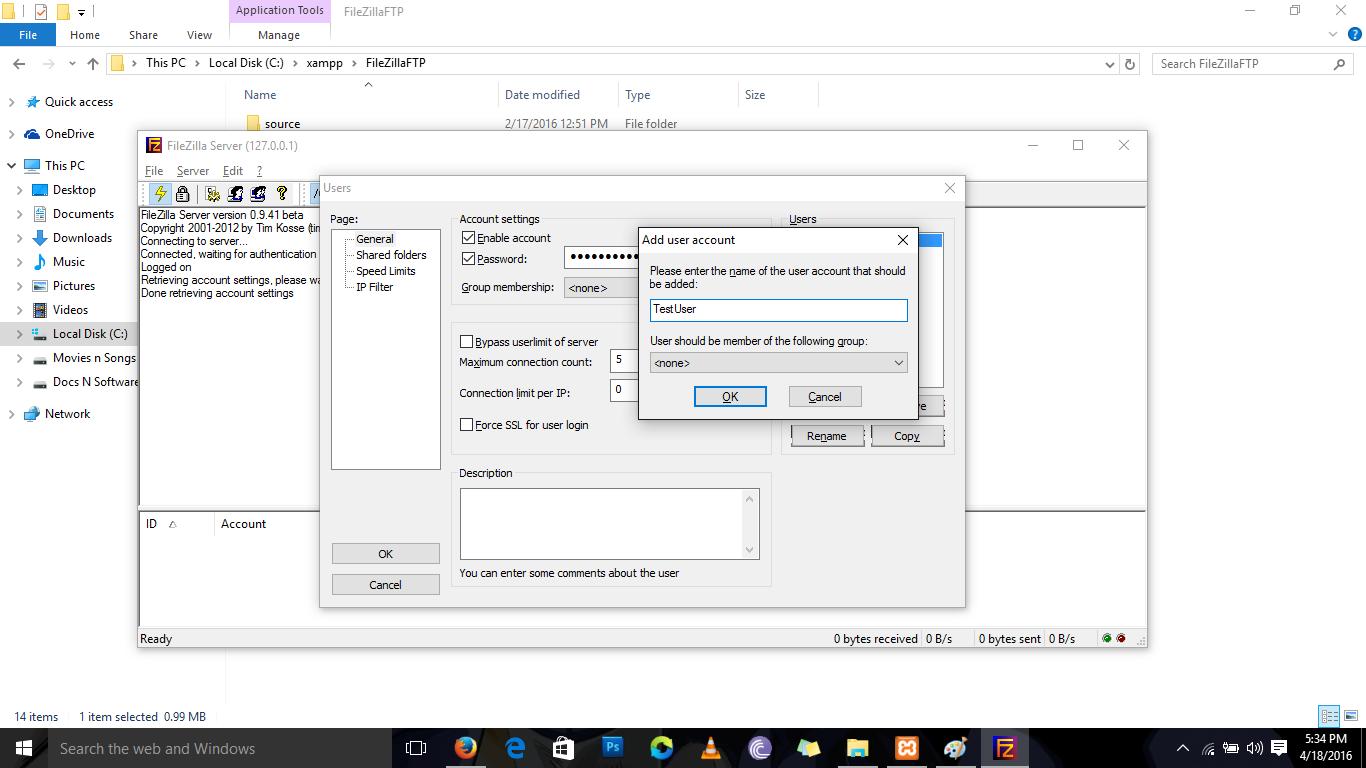 How to setup FTP on Localhost using XAMPP | Windows