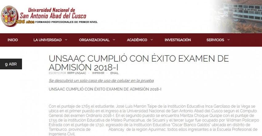 UNSAAC cumplió con éxito Examen de Admisión 2018-I - www.unsaac.edu.pe