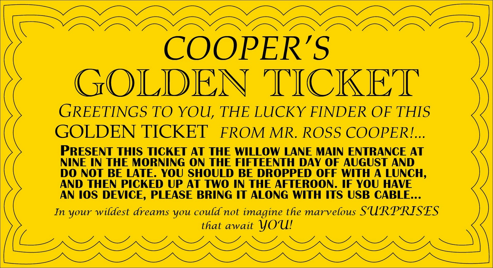 Wonka golden ticket coloring the image for Golden ticket template editable