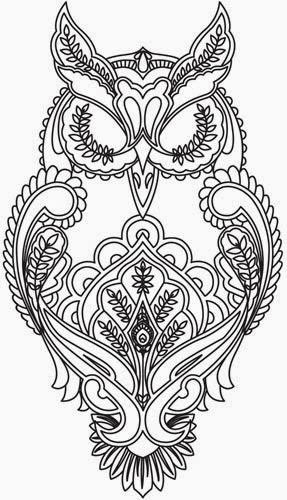 Owl mehndi tattoo stencil