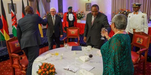 Deputy President William Ruto, President Uhuru Kenyatta, the first lady and German president Frank-Walter Steinmeier at Statehouse. PHOTO | PSCU
