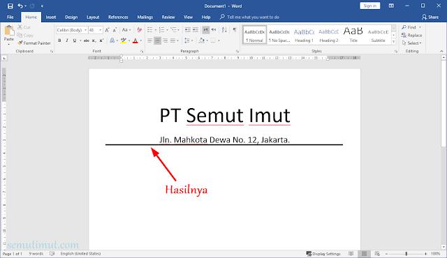 cara membuat garis di word