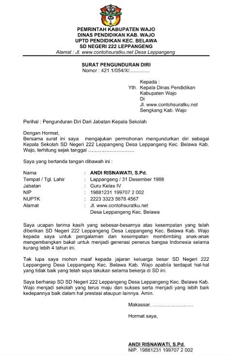 Contoh Surat Pengunduran Diri Dari Jabatan Feed News Indonesia