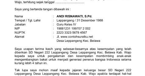 Contoh Surat Pengunduran Diri Sebagai Guru Paud Contoh 0108
