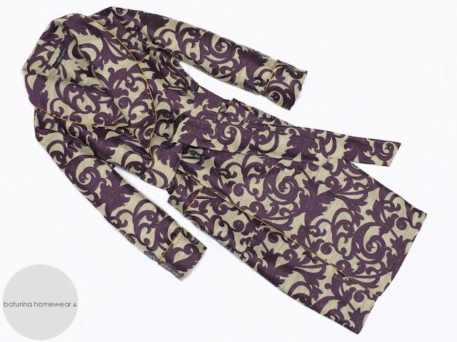 mens paisley cotton dressing gown long lightweight summer robe smoking jacket purple gold full length big tall size