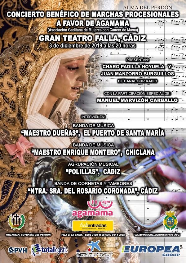 Cuatro nuevas marchas se escucharán en el concierto organizado por la Cofradía del Perdón de Cádiz el 3 de diciembre en el Falla