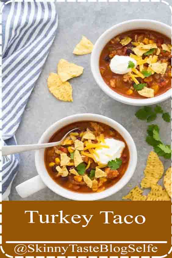 4.6 | ★★★★★ The best taco soup made with simple ingredients, including ground turkey (or beef) and black beans. This healthy taco soup recipe is quick and easy to make on the stove top. One pot, 30 minute meal, perfect weeknight dinner! #tacosoup #souprecipes #30minutemeal #TurkeyTaco #Soup