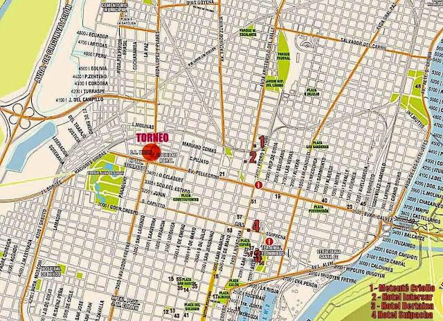 Mapa do centro da cidade de Santa Fé - Argentina