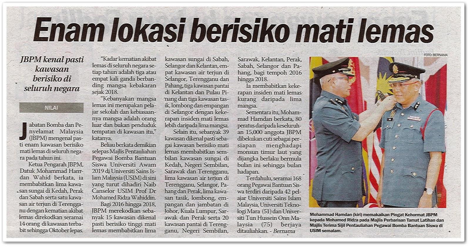 Enam lokasi berisiko mati lemas - Keratan akhbar Sinar Harian 18 November 2019