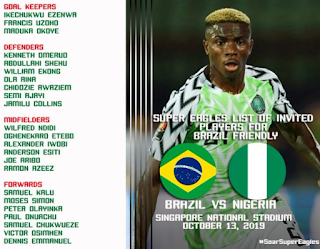 Full List: NFF releases Super Eagles squad to face Brazil in October